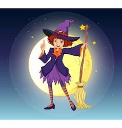 Witch holding broom vector