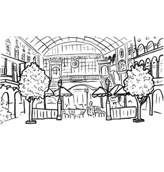 shopping center and cafe vector image