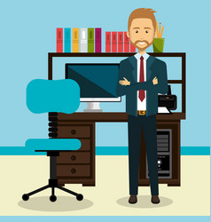 Businessman in the office avatar character icon vector