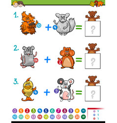 Addition educational maths activity for kids vector