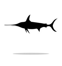 Swordfish fish black silhouette aquatic animal vector