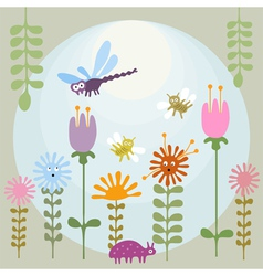 Insects in flower garden vector