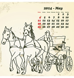 May 2014 hand drawn horse calendar vector image