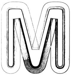 Grunge Font letter M vector image