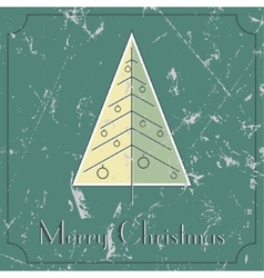 Retro-vintage christmas tree beige and green card vector