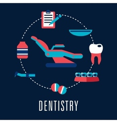Dentistry concept with dental chair and medical vector