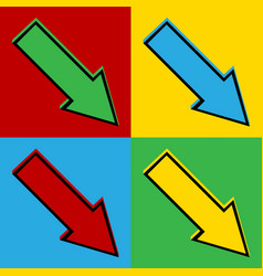 Pop art arrow icons vector image