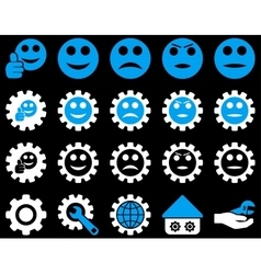 Settings and smile gears icons vector