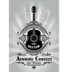 Retro poster with a guitar for the concert vector