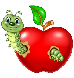 Cartoon caterpillars eat the red apple vector