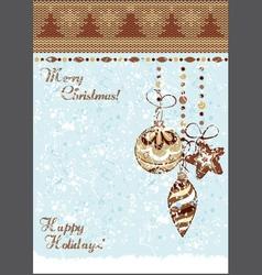 christmas vintage baubles background vector image