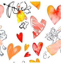 Watercolor heart Valentinine Day  Pattern vector image