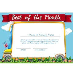Certificate template with schoolbus background vector