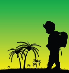 Child in nature silhouette vector