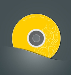 Yellow cd in black package vector