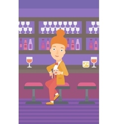 Woman sitting at bar vector