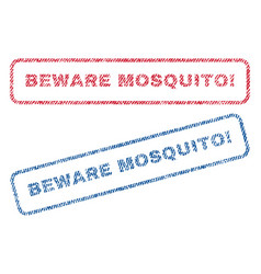 Beware mosquito exclamation textile stamps vector
