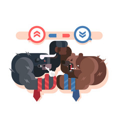 bulls and bears fight vector image vector image