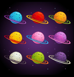 Colorful fantasy planets set vector