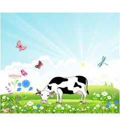 Cow on a summer landscape vector