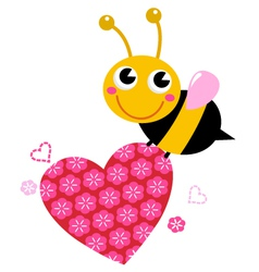 Cute flying bee with pink love heart vector image