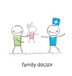 family doctor treats her mother with a child vector image vector image