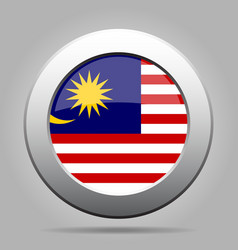 Flag of Malaysia Shiny metal gray round button vector image