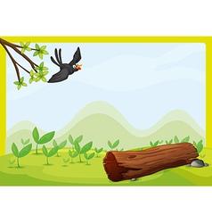 Flying bird in beautiful nature vector image vector image