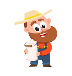 Funny farmer gardener character holding retro vector