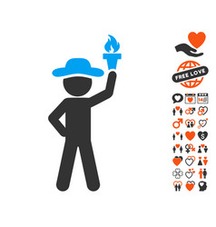 Gentleman with freedom torch icon with valentine vector
