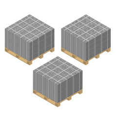 Isometric wooden pallet with cinder blocks vector