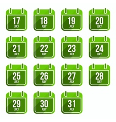 Julytor flat calendar icons days of year set 20 vector