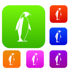 King penguin set color collection vector