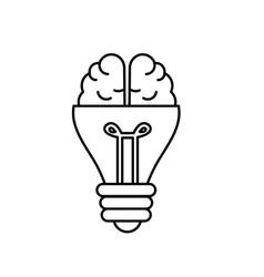 Line bulb with brain to creative idea vector