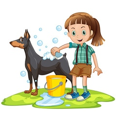 Little girl giving bath to pet dog vector