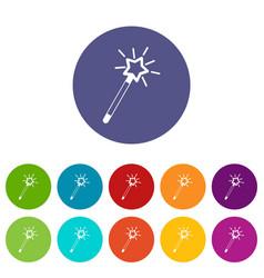 Magic wand set icons vector
