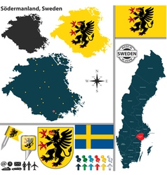 Map of Sodermanland vector image vector image
