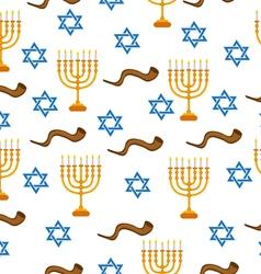 Menorah shofar and star of david seamless pattern vector