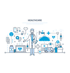 Modern medicine health care system equipment vector