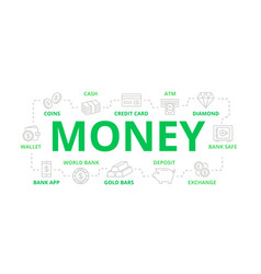 money and bank thin line banner for design vector image