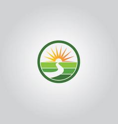 nature sun shine logo vector image vector image