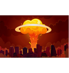 nuclear explosion city cartoon poster vector image vector image