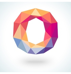 Number zero in modern polygonal crystal style vector