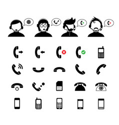 Operator customer support and basic phone set vector