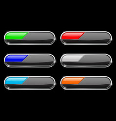 Oval black buttons with colored tags vector