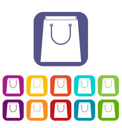 paper shopping bag icons set vector image
