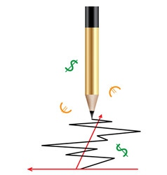 pencil and a graph vector image vector image