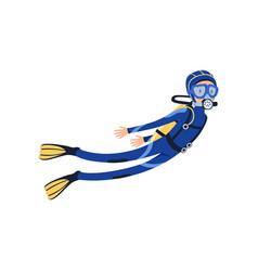 professional scuba diver swimming underwater vector image