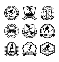 Ski jumping badges vector
