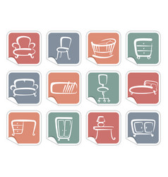 stickers with furniture images vector image